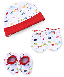 Babyhug Cap Mittens And Booties Set Transport Print - White & Red