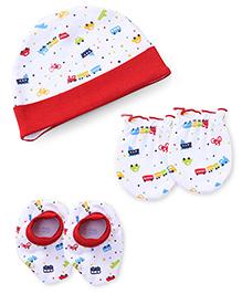 Babyhug Cap Mittens And Booties Set Transport Print - White & Red