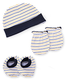 Babyhug Cap Mittens And Booties Set Stripes Print - Navy & Yellow