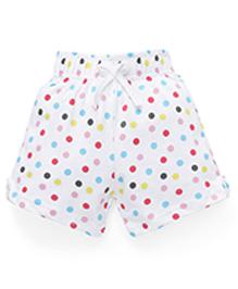 Babyhug Shorts With Polka Dot Print - White Multi Color