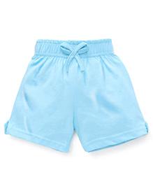 Babyhug Solid Color Shorts Cotton Knitted Shorts - Aqua Blue