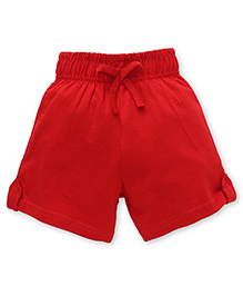 Babyhug Solid Color Shorts Cotton Knitted Shorts - Red