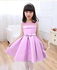 The Kidshop Satin Pleated Dress With A Classic Bow - Lavender