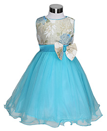 The Kidshop Flower Embellished Glitter Dress - Blue