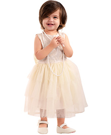 The Kidshop Snowflake Design Dress With Double Bow - Off White