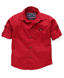 Jash Kids Full Sleeves Dotted Shirt - Red