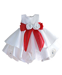 Pre Order - Lil Mantra Dress With Red Sash - White
