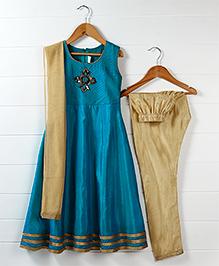 Babyhug Sleeveless Embellished Anarkali Kurta Churidar And Dupatta Set - Blue