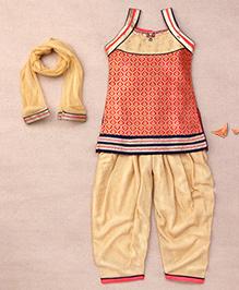 Babyhug Sleeveless Designer Kurta Churidar Dupatta Set - Pink
