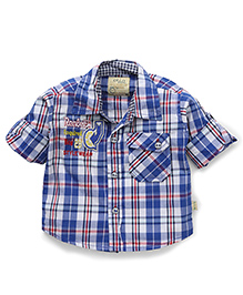 Olio Kids Full Sleeves Check Shirt - Blue White