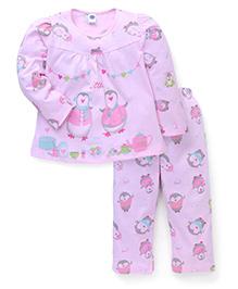 Teddy Full Sleeves Night Suit Penguin Print - Pink