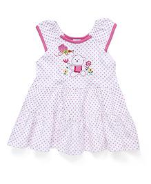 Babyhug Frock Teddy Bear Print - White And Pink