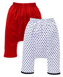 Babyhug Diaper Legging Star Print Pack Of 2 - Red & Navy