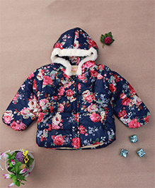 Adores Floral Print Hooded Winter Jacket - Navy Blue
