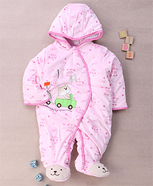Adores Fur Hooded Winter Jacket Romper With Teddy - Pink
