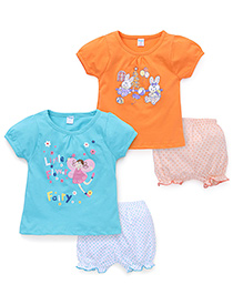 Tango Short Sleeves Printed Top And Shorts Set Of 2 - Orange Turquoise Blue
