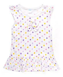Tango Cap Sleeves Dot Print Frock With Bow - White Yellow