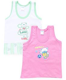 Tango Sleeveless Vests Multi Print Pack Of 2 - Green Pink