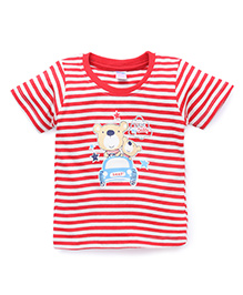 Tango Half Sleeves Striped T-Shirt With Print - Red