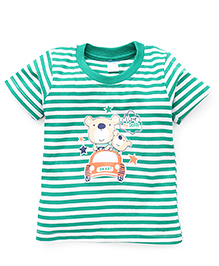 Tango Half Sleeves Striped T-Shirt With Print - Green