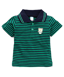 Tango Half Sleeves Polo Neck T-Shirt With Bear Patch - Green
