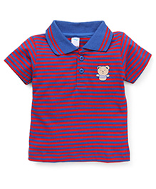 Tango Half Sleeves Polo Neck T-Shirt With Bear Patch - Blue Red