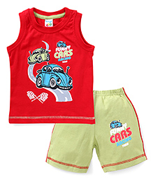 Tango Sleeveless T-Shirt And Short Set With Car Print - Red