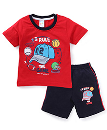 Tango Half Sleeves The Game Print T-Shirt And Shorts Set - Red And Navy