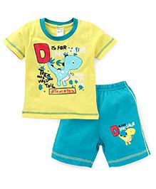 Tango Half Sleeves Dinosaur Print T-Shirt And Shorts Set - Yellow