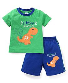 Tango Half Sleeves Suits With Dinosaur Print - Green
