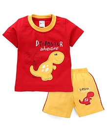 Tango Half Sleeves Suits With Dinosaur Print - Red