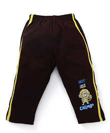 Tango Track Pants With Cheeky Little Chimp Print - Brown