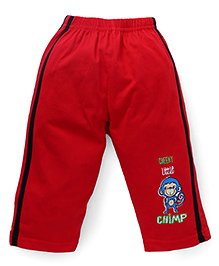 Tango Track Pants With Cheeky Little Chimp Print - Red