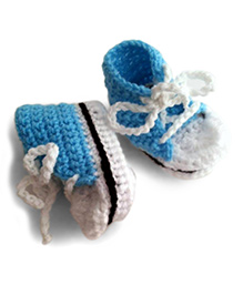 Knits & Knots Casual Booties With Lace - Blue & White
