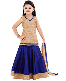 Ethnical Kids Elegant Embroidered Lehenga Choli & Dupatta Set - Blue