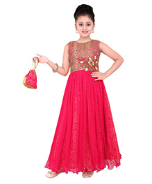 Ethnical Kids Embroidered & Sequence Gown - Red
