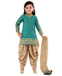 Ethnical Kids Embroidered Salwar Suit Set - Turquoise