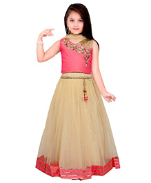 Ethnical Kids Floral Shimmer Lehenga Choli & Dupatta Set - Orange