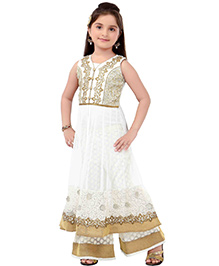 Ethnical Kids Embroidered Kurta Palazzo Set - Cream