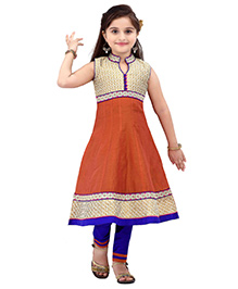 Ethnical Kids Laced Salwar & Churidar Set - Orange