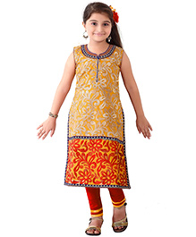 Ethnical Kids Floral Embroidered Salwar & Churidar Set - Yellow