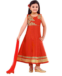 Ethnical Kids Kurti & Churidar Set With Dual Tone Dupatta - Red