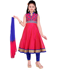 Ethnical Kids Stylish Embroidered Kurti & Churidar Dupatta Set - Red