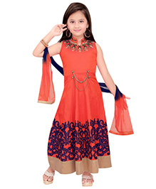 Ethnical Kids Chinese Collar Kurti & Churidar Set With Dupatta - Orange
