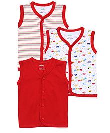 Babyhug Sleeveless Vests Pack of 3 - Red White