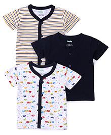 Babyhug Front Open Vest Pack OF 3 - Blue & White