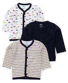 Babyhug Full Sleeves Vest Pack Of 3 - Blue & White