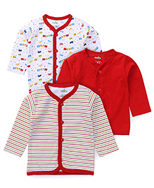 Babyhug Full Sleeves Vest Pack Of 3 - Red & White
