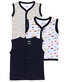 Babyhug Sleeveless Vests Pack of 3 - Blue White