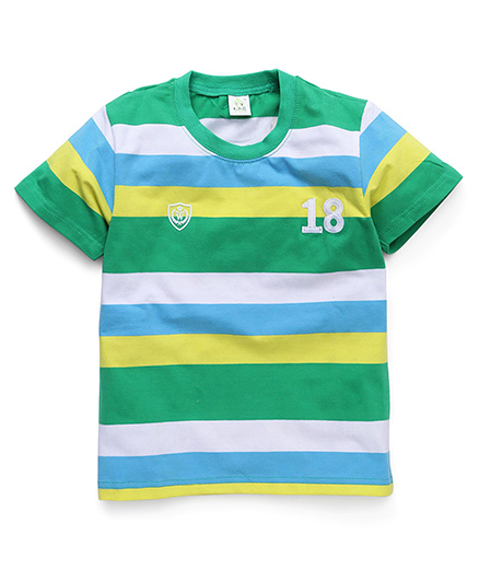Water Melon Stripe & 18 Print T-Shirt - Green